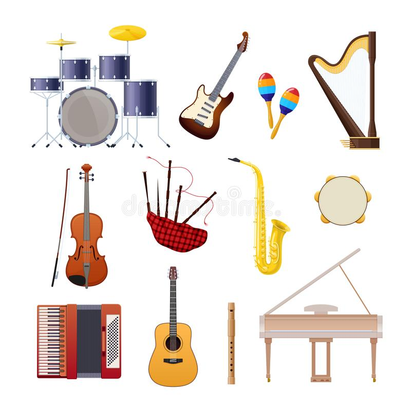 Set of classical wooden and metallic musical instruments. Set of classical musical instruments drums, acoustic and electronic guitars, violin, accordion vector illustration