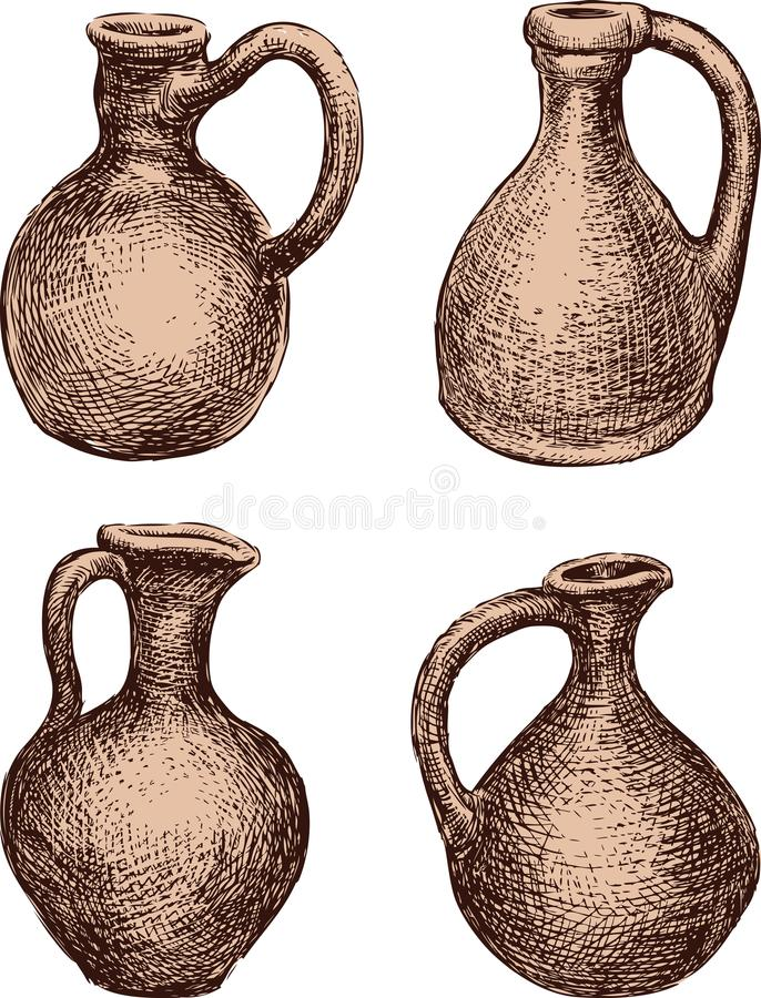 A set of the clay jugs royalty free illustration