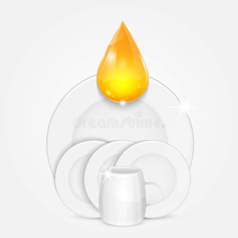 Set of clean dishes and yellow drop stock illustration