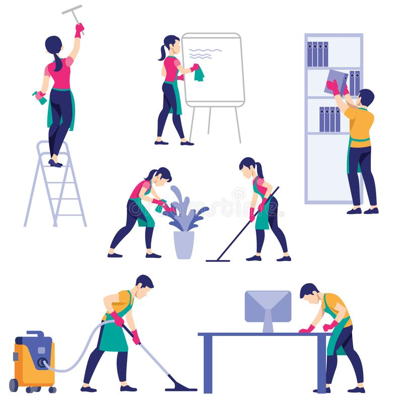 Set of cleaning company staff different poses royalty free stock photo