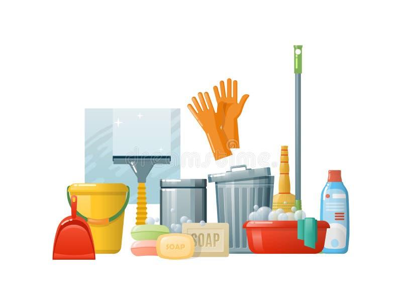 Set cleaning dostaw narzędzi akcesoria Czyści w biurze, pokój ilustracji