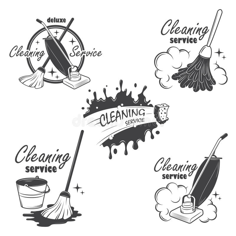 Set of cleaning service emblems, labels and vector illustration