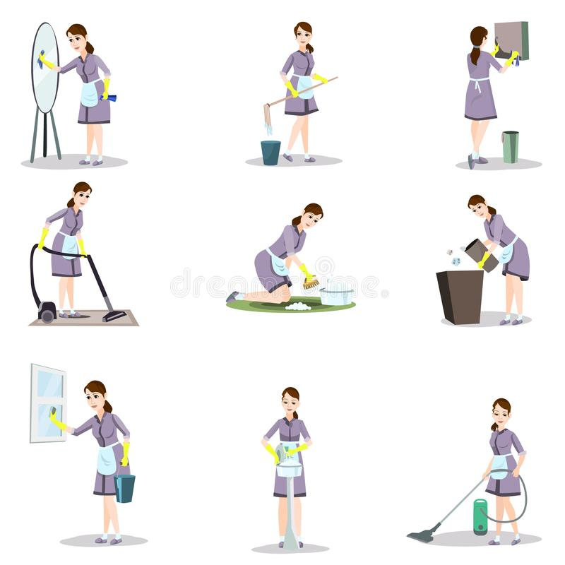 Set of cleaning woman in different poses and home situations stock illustration