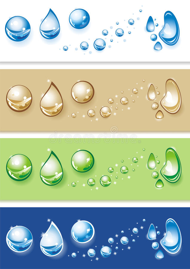 Set of clear water drops. Vector illustration stock illustration