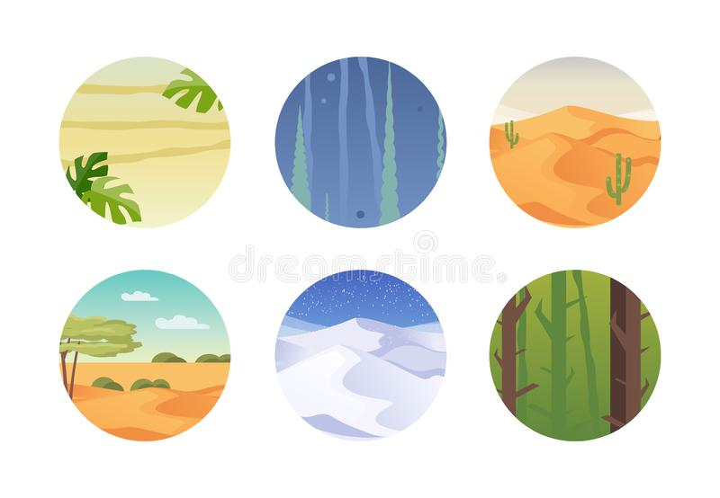 Set of climatic zones vector vector illustration
