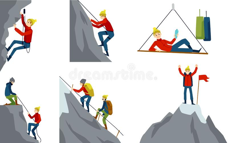 Set with climber or alpinist character flat cartoon vector illustration isolated. vector illustration