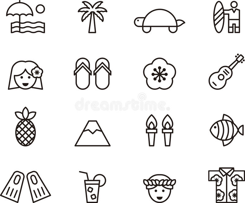 set of clip art hawaiian icons symbols stock photo image of fish rh dreamstime com clip art symbols free clipart weather symbols