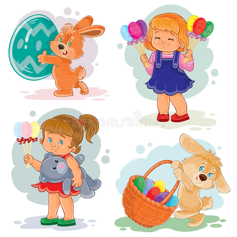 Download Set Clip Art Illustrations With Young Children On Easter Theme Stock Vector - Illustration of basket, isolated: 83120900