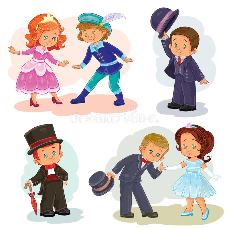 Set clip art illustrations with young children in historical costumes royalty free illustration