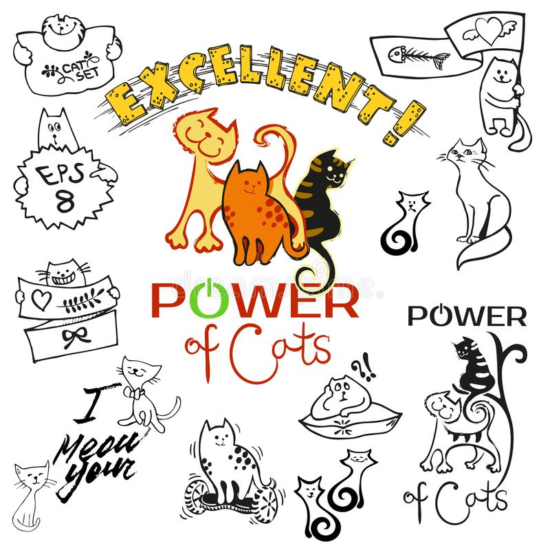 A set of clip art and patches of cats drawing in cartoon cute all style.  vector illustration