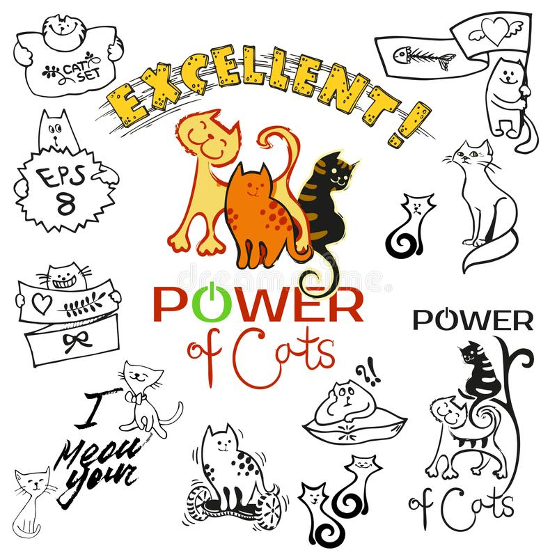 A set of clip art and patches of cats drawing in cartoon cute all style.  royalty free illustration