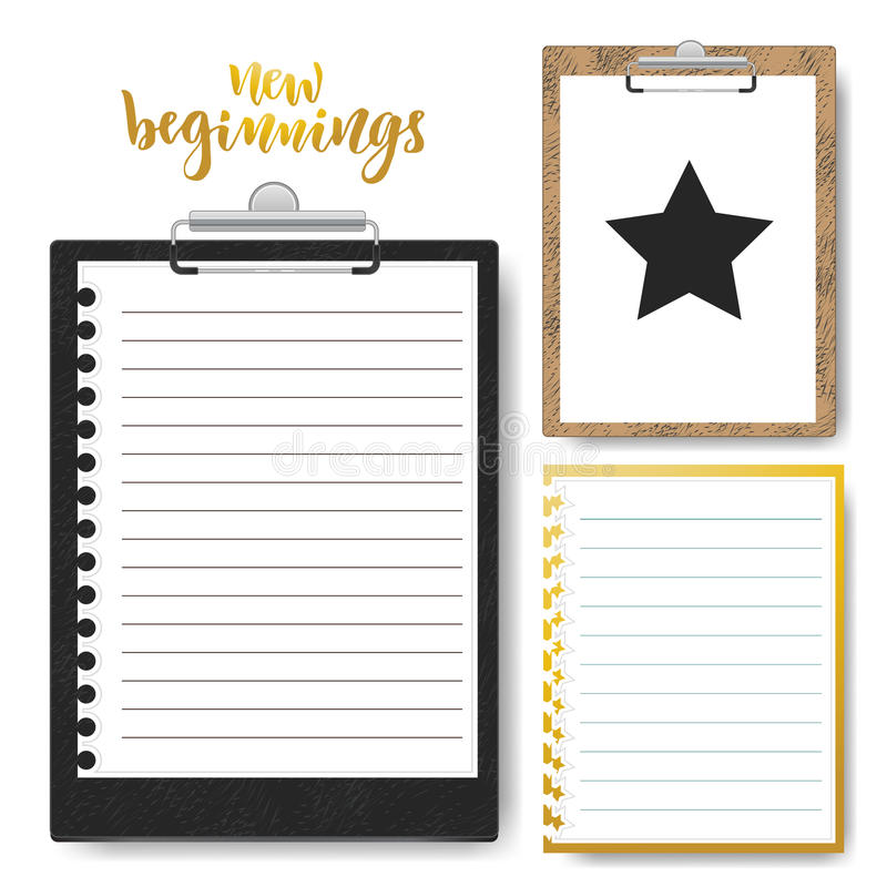 Set of Clipboard with lined paper. Vector Mock up template for business presentation.  vector illustration