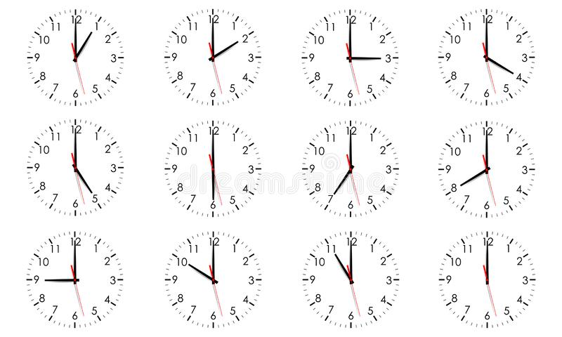 Set of clock dials showing various time isolated vector illustration