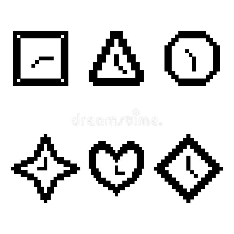 Set from clock. Clock in geometrical figures. Pixel, black and white color royalty free illustration