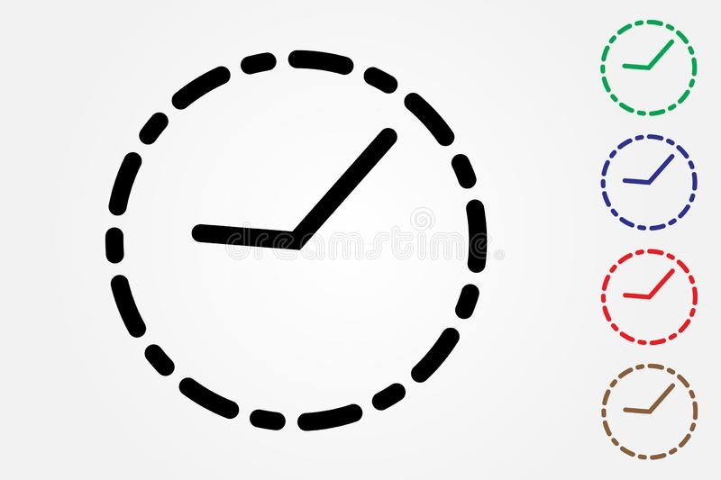 Set of clock icons using many colors on white background for time keeping vector vector illustration