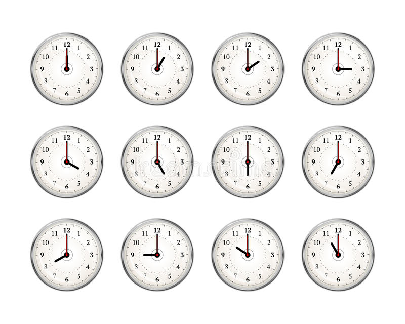 Set of clocks icons for every hour of day on white royalty free illustration