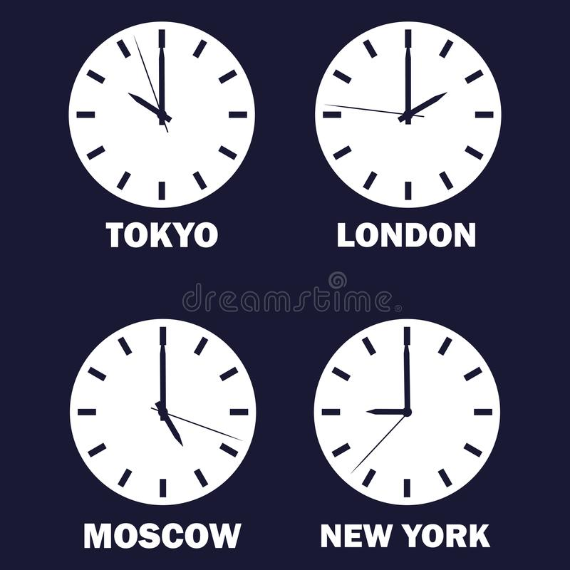 Set of clocks showing the time difference in different time zones. Timezone clock .international time. Vector white icon on dark b royalty free illustration