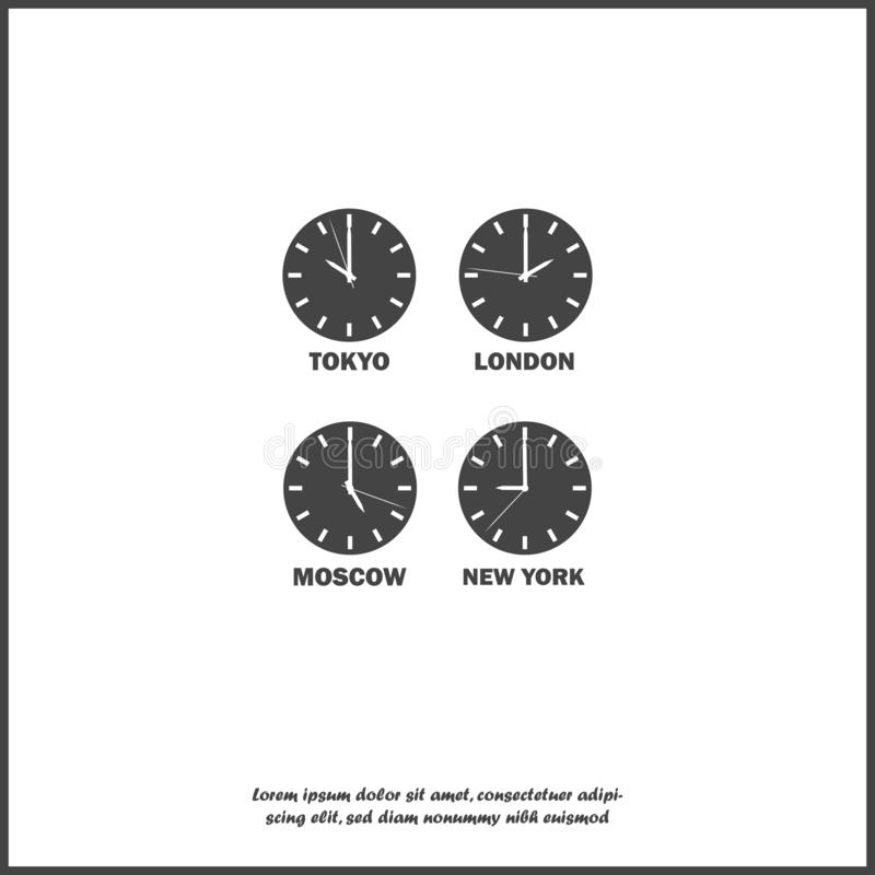 Set of clocks showing the time difference in different time zones. Timezone clock international time on white isolated background stock illustration
