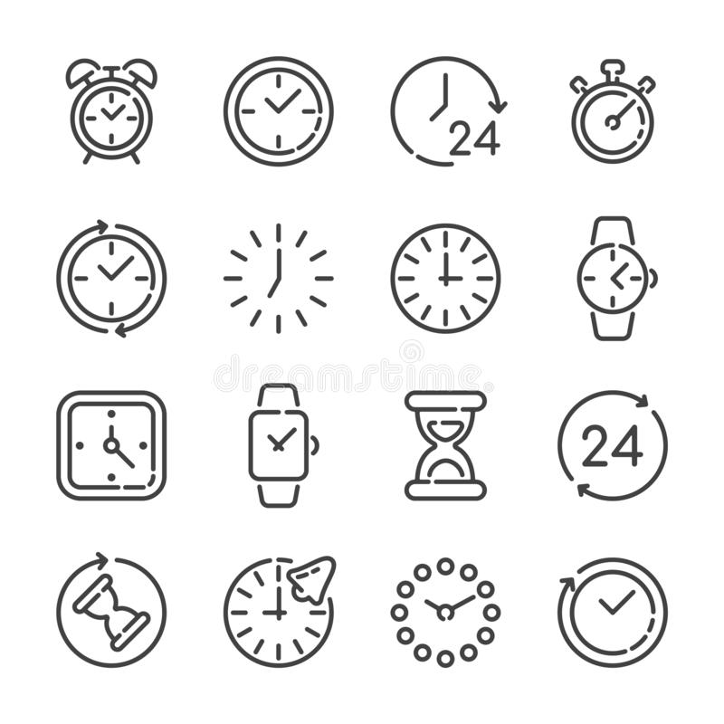 Set of clocks or time outline icons. Vector illustration. Set of clocks or time outline icons isolated on white background. Vector illustration stock illustration