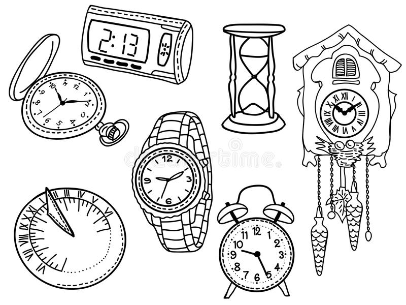 Set of clocks and watches. Isolated on white background - hand-drawn illustration royalty free illustration