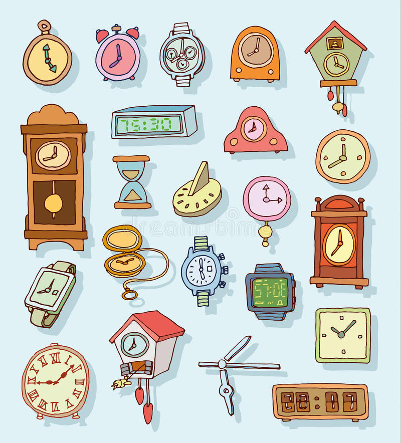 Set of clocks and watches, Hand drawn vector illustration. Set of clocks and watches, Hand drawn vector illustration royalty free illustration