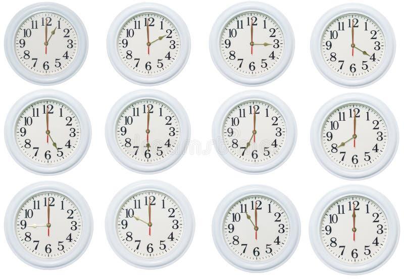 Set of clocks. In white background vector illustration