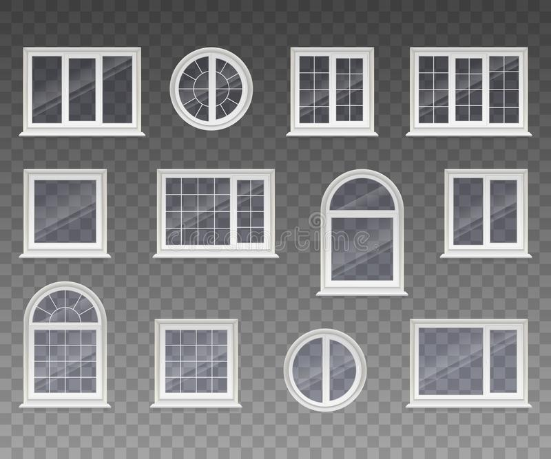 Set of closed square, rectangular, round and arched windows with transparent glass in a white frame. Isolated on a transparent bac. Kground. Vector vector illustration