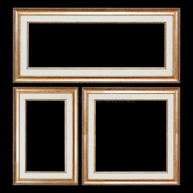 Set of Closeup Wooden Vintage Frames with Blank Space for Yours royalty free stock image
