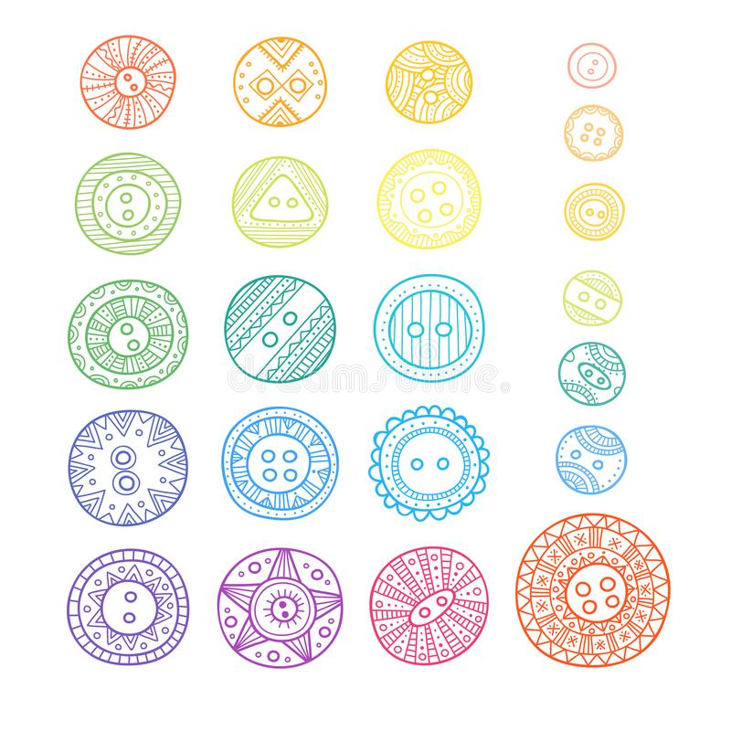 set of cloth buttons in different designs in boho style with ornament. vector illustration