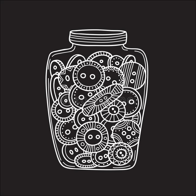 Set of cloth buttons in glass jar in boho style with ornament stock illustration