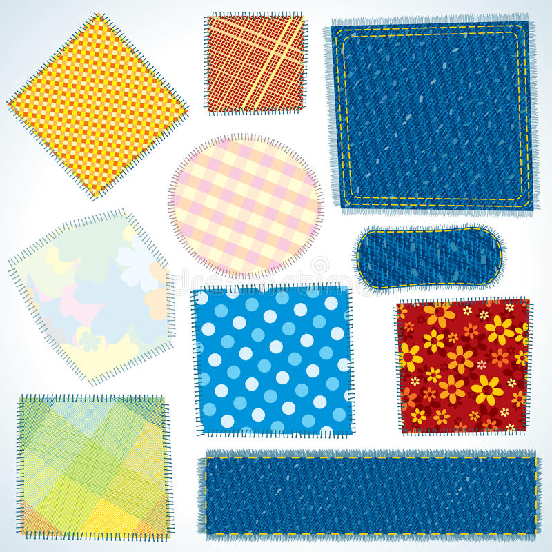 Download Set of Cloth Patches stock vector. Image of color, checked - 23166536