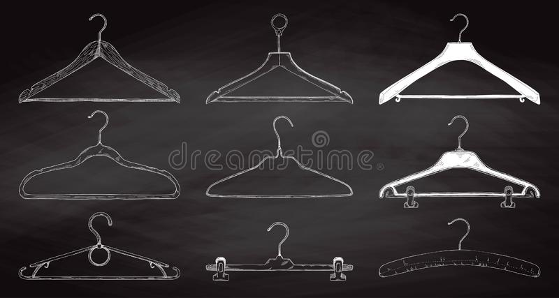 Set of clothes hangers on a chalkboard. Vector royalty free illustration