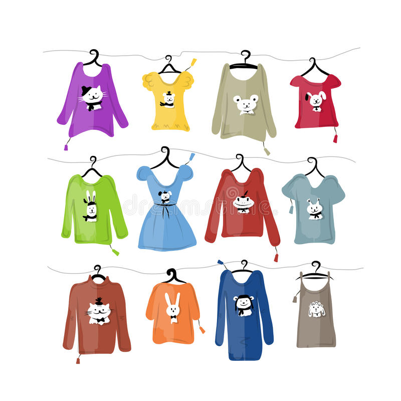 Set of clothes on hangers with funny animal design stock illustration