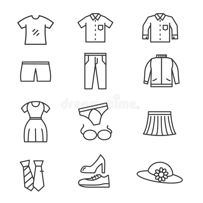 Set of clothes related vector with simple line design. Suitable for icon or illustration stock illustration