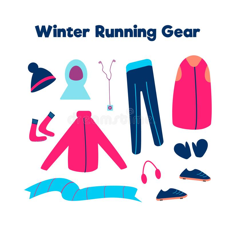 Set of clothes for running in cold weather isolated on a white background. Vector illustration. Winter running gear stock illustration