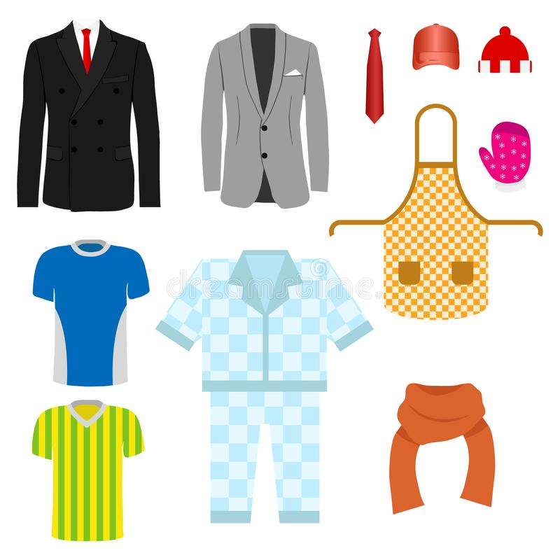 A set of clothes. Suit, pajamas, kitchen apron, scarf, tie. royalty free illustration