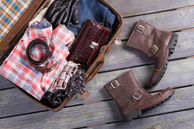 A set of clothes for the trip. stock photo