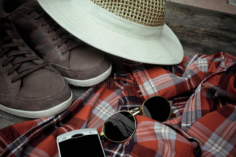 Set of clothes and various accessories for men stock photos