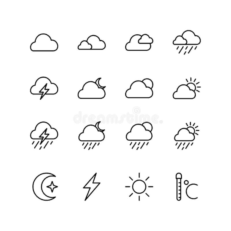Set of cloud line icon design, weather vector illustration. royalty free illustration