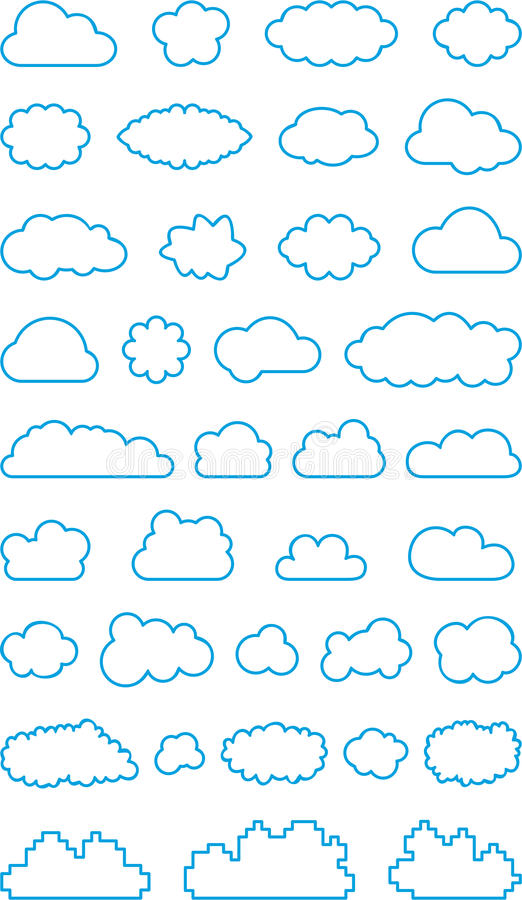 Illustrated Set Of Different Blue Cloud Shape Outline Isolated On White Background