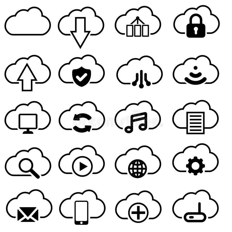 Set of cloud vector icons. cloud servis icon illustration. It contains symbols to upload, download, link and more. royalty free illustration