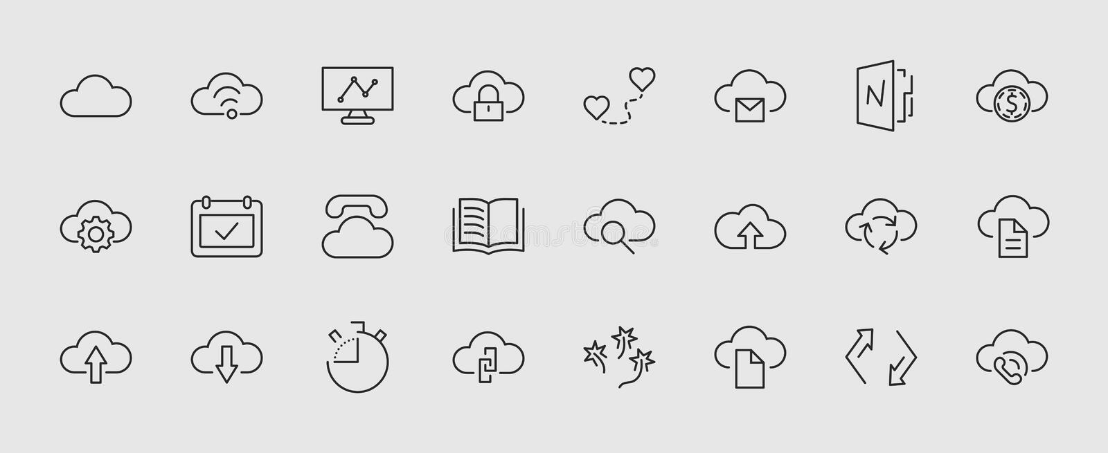 Set of cloud vector line icon. It contains symbols to upload, download, link and more. Editable move. 32x32 pixels. royalty free illustration