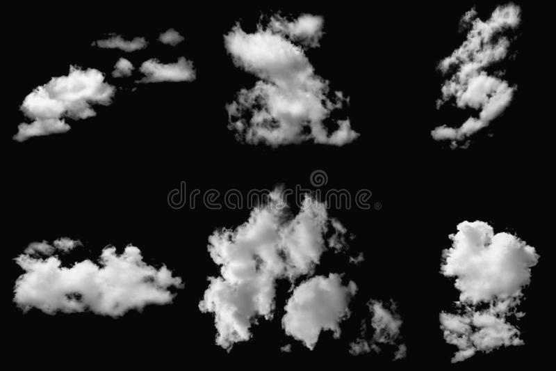 Set of cloud white on black background. Set of cloud white on elements black background royalty free stock photography