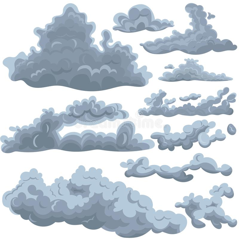 Set of clouds of different shapes. Design elements for various purposes. Vector graphics isolated on white background vector illustration