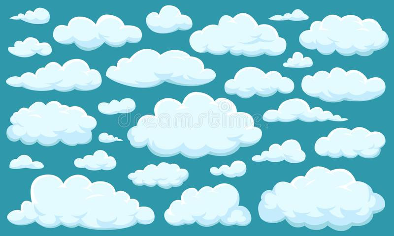 Set of clouds of different shapes in the sky for your web site design, UI, app. Meteorology and atmosphere in space. stock illustration