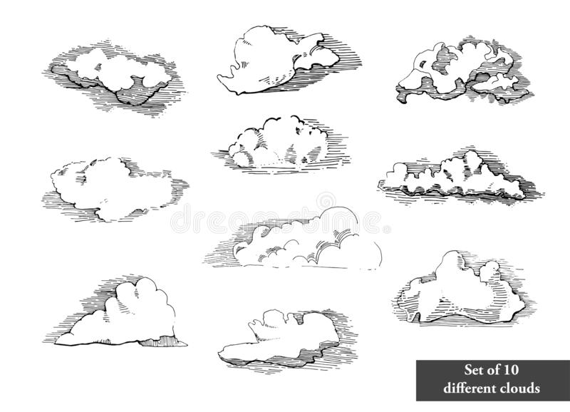 Hand drawn vintage engraved clouds vector set. Detailed ink illustration. Sky, heaven, cloud sketch, retro style.Big set vector illustration