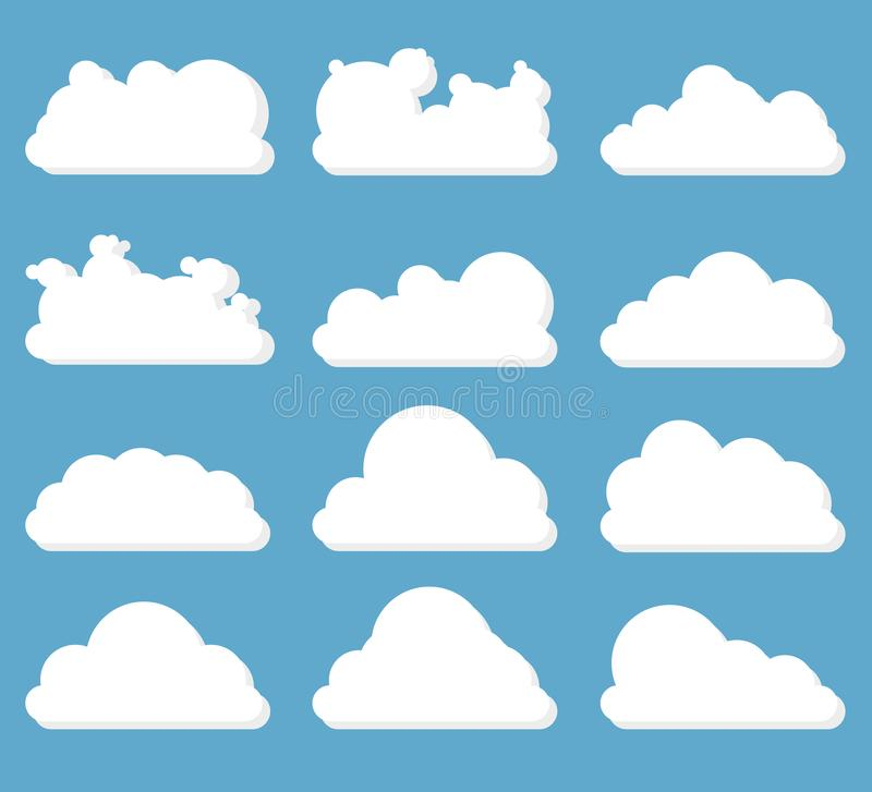 Set of clouds. White on a blue background. 12 clouds with a light shadow. vector illustration