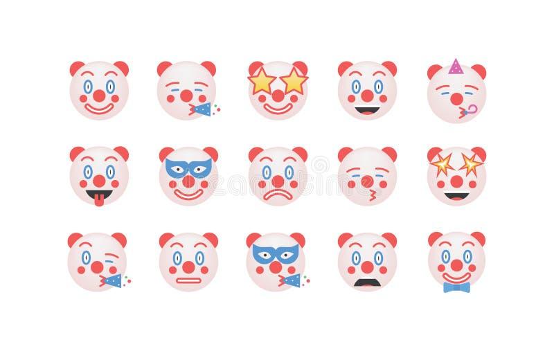 Set of clown emoticon vector royalty free illustration