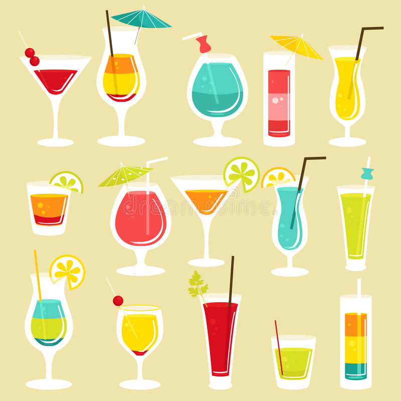 Download Set of cocktails stock vector. Image of clipart, background - 25280455
