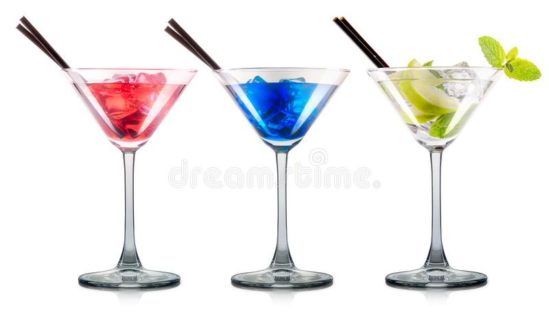 Set of cocktails in martini glass with black straw royalty free stock image